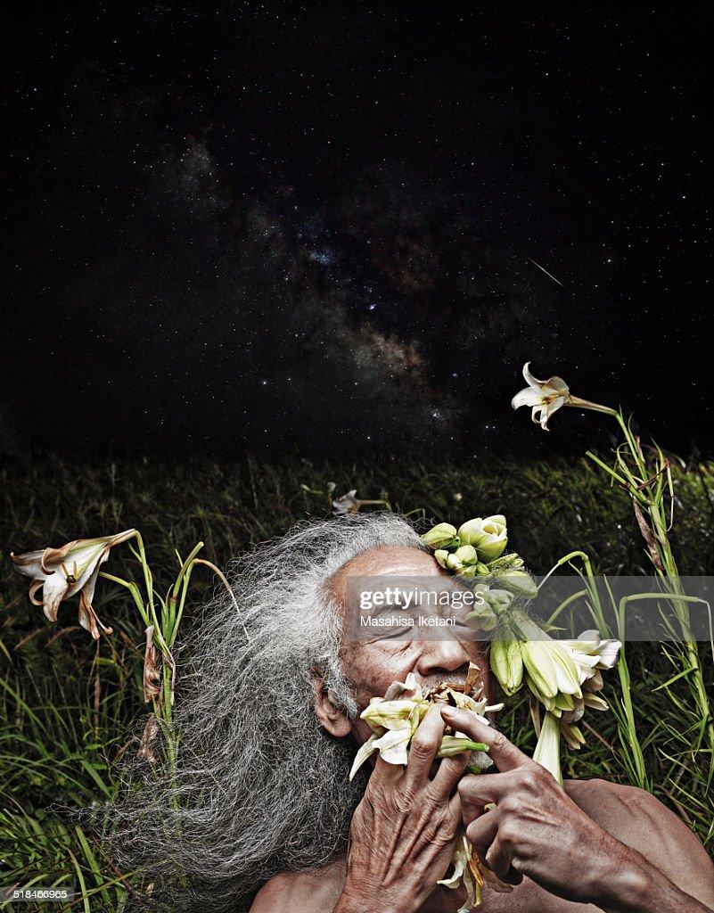 Hercules to eat lily (Greek mythology) : Stock Photo