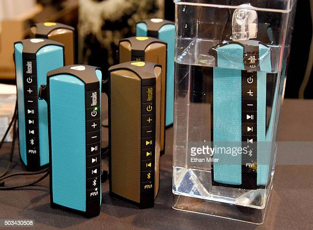 Hercules WAE nickelplated Bluetooth speakers are displayed during a press event for CES 2016 at the Mandalay Bay Convention Center on January 4 2016...