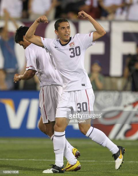 Herculez Gomez of the United States celebrates against the Czech Republic at Rentschler Field on May 25 2010 in East Hartford Connecticut