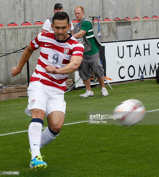 Herculez Gomez of the United States plays during a game against Cuba during the first half of an CONCACAF Gold Cup match March July 13 2013 at Rio...