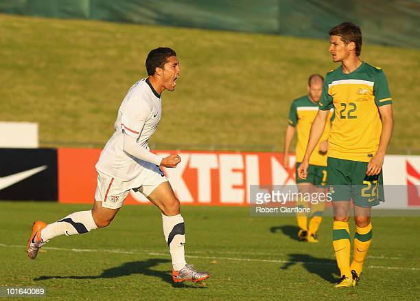 Herculez Gomez of the USA celebrates scoring his goal during the International Friendly between the Australian Socceroos and the USA at Ruimsig...