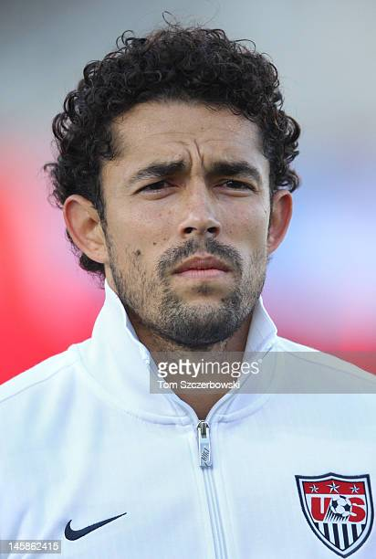 Herculez Gomez of USA stands for the playing of the national anthems before their game against Canada during their international friendly match on...