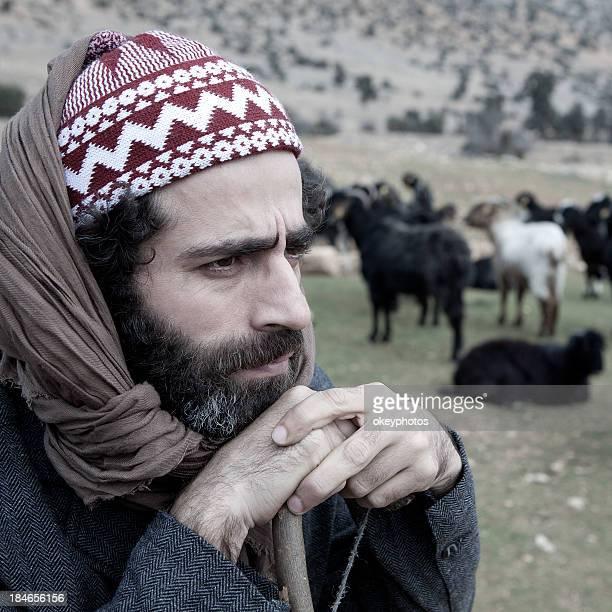 Herdsman watching his flock of sheep