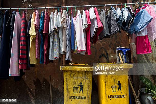 Here a view from a slum in central Bangkok near one of the busiest road of the capital know as 'Petchaburi Road' which is located not so far from the...