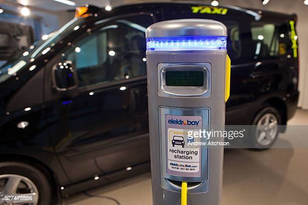 Here an electrically powered black taxi recharges at an Elektrobay recharging station in London UK These stations are situated across the UK and are...