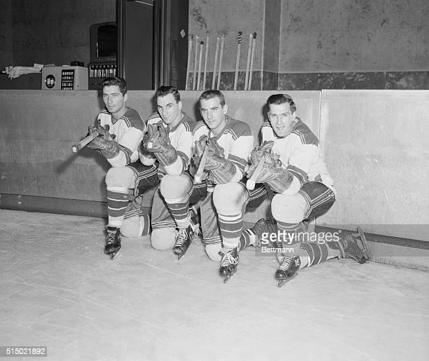 Here are the four sharpshooters of the New York Rangers who are expected to score 100 goals for the season as they paused during a workout at Madison...