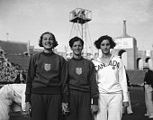Here are the winners of the Olympic high jump for women after the final of their event in the Los Angeles Stadium Left to right Jean Shiley of US...