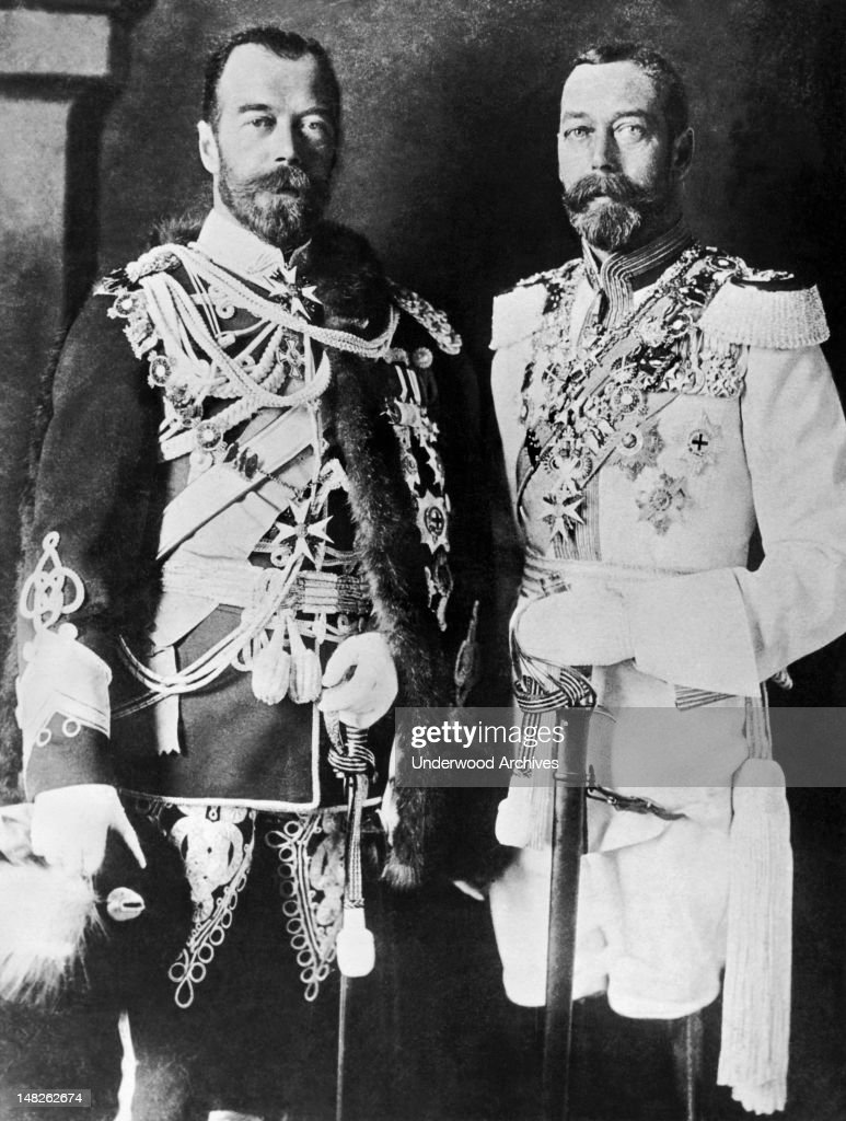 Here are two cousins, <a gi-track='captionPersonalityLinkClicked' href=/galleries/search?phrase=Czar+Nicholas+II&family=editorial&specificpeople=90658 ng-click='$event.stopPropagation()'>Czar Nicholas II</a> of Russia, at left, wearing an English uniform, and King <a gi-track='captionPersonalityLinkClicked' href=/galleries/search?phrase=George+V&family=editorial&specificpeople=93661 ng-click='$event.stopPropagation()'>George V</a> of England, in Russian regimentals, England, circa 1915. It was a quaint courtesy observed among royal rulers of the time when visiting each other.