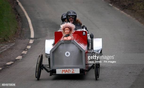 'Here come the Girls' team steered by Michele DeHavilland negotiate the chicane at the Hoar Cross Downhill soapbox competition The competition...