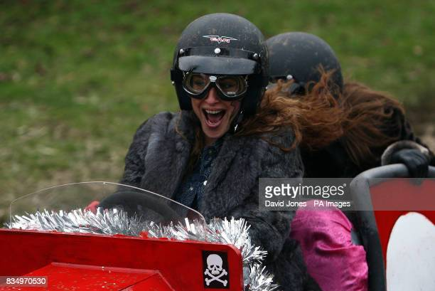 PHOTO 'Here come the Girls' team steered by Michele DeHavilland show their relief after negotiating the chicane at the Hoar Cross Downhill soapbox...
