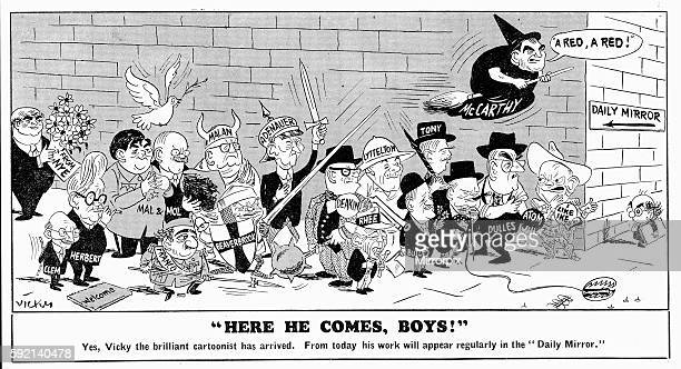Here he comes boys Daily Mirror 2nd February 1954 Vicky cartoon introducing himself to the readership of The Mirror and the leading political figures...