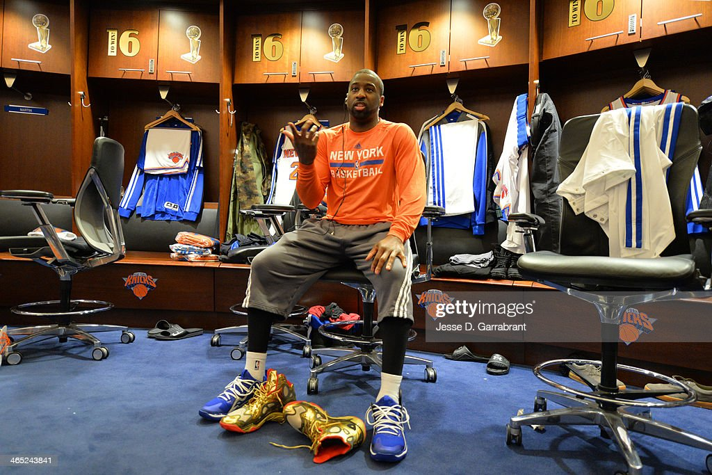 Here is a close up of <a gi-track='captionPersonalityLinkClicked' href=/galleries/search?phrase=Raymond+Felton&family=editorial&specificpeople=209141 ng-click='$event.stopPropagation()'>Raymond Felton</a> #2 of the New York Knicks where the Los Angeles Lakers played at Madison Square Garden on January 26, 2014 in New York, New York.