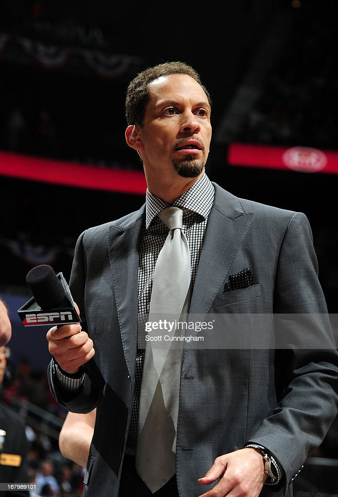 Here is a close-up of Chris Broussard an ESPN analyst after Game Six of the Eastern Conference Quarterfinals in the 2013 NBA Playoffs on May 3, 2013 at Philips Arena in Atlanta, Georgia.