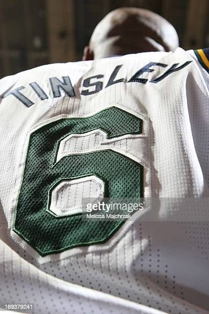 Here is a closeup of Jamaal Tinsley of the Utah Jazz Jersey against the Denver Nuggets at Energy Solutions Arena on April 3 2013 in Salt Lake City...