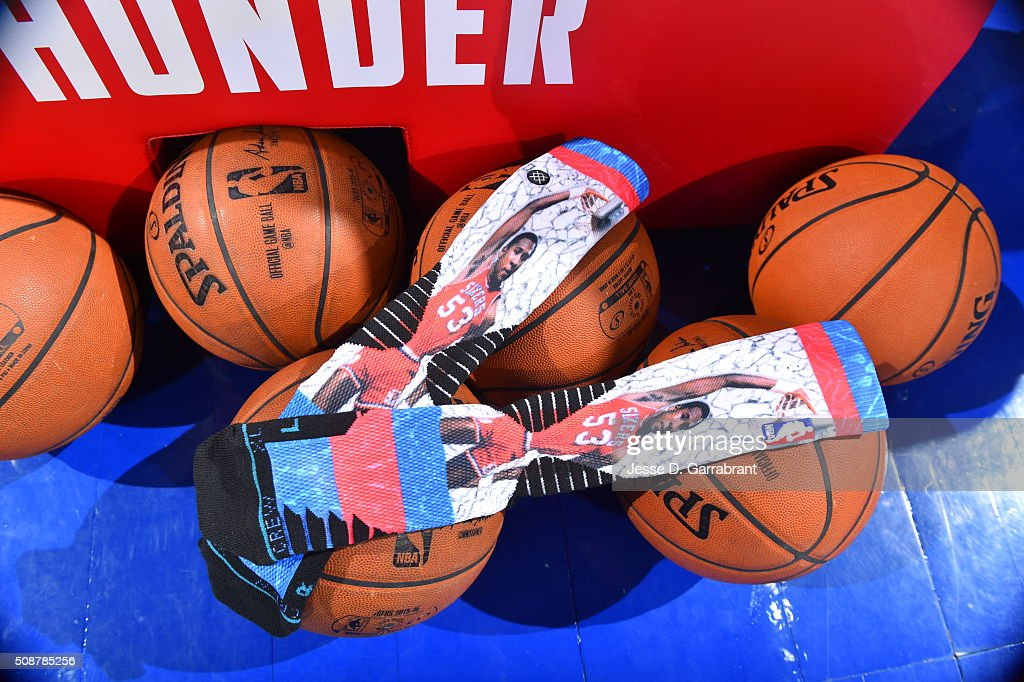 Here is a photo of the commemorative socks of NBA Legend <a gi-track='captionPersonalityLinkClicked' href=/galleries/search?phrase=Darryl+Dawkins&family=editorial&specificpeople=617706 ng-click='$event.stopPropagation()'>Darryl Dawkins</a> prior to the Philadelphia 76ers against the Brooklyn Nets at Wells Fargo Center on February 6, 2016 in Philadelphia, Pennsylvania