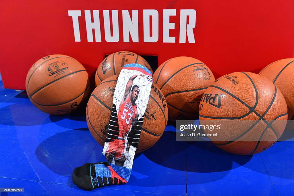 Here is a photo of the commemorative socks of NBA Legend Darryl Dawkins prior to the Philadelphia 76ers against the Brooklyn Nets at Wells Fargo Center on February 6, 2016 in Philadelphia, Pennsylvania