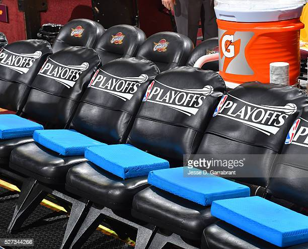 Here is a photograph of curtsied seats for tonights game where the Cleveland Cavilers against the Atlanta Hawks during the Eastern Conference...