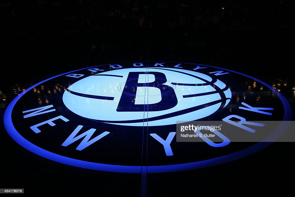 Here is a photograph of the Brooklyn Nets logo against the Utah Jazz during a game at Barclays Center on November 5, 2013 in the Brooklyn borough of New York City.