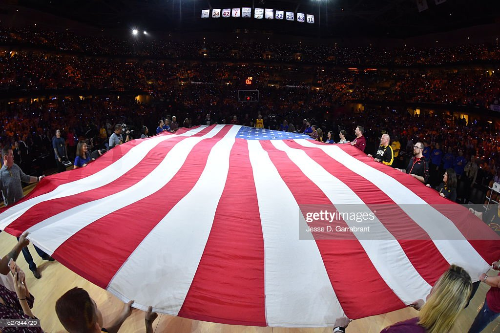 Here is a photograph of the Flag during the National Anthem prior to the Cleveland Cavaliers against the Atlanta Hawks during the Eastern Conference Semifinals Game One on May 2, 2016 at The Quicken Loans Arena in Cleveland, Ohio.