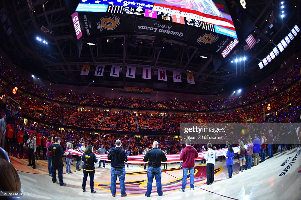 Here is a photograph of the National Anthem prior to the Cleveland Cavilers against the Atlanta Hawks during the Eastern Conference Semifinals Game One on May 2, 2016 at The Quicken Loans Arena in Cleveland, Ohio.