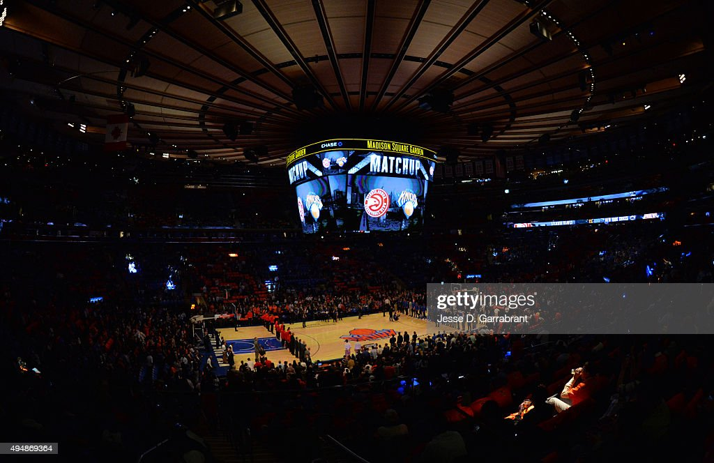 Here is a photograph of the New York Knicks against the Atlanta Hawks at Madison Square Garden on October 29 2015 in New YorkNew York NOTE TO USER...