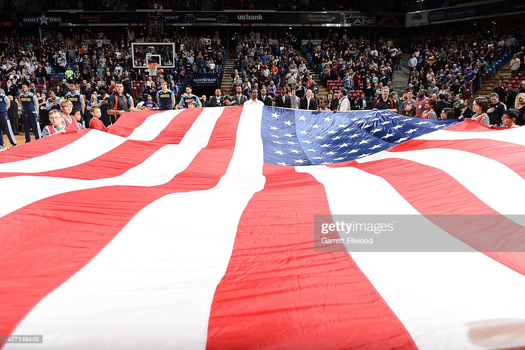 Here is a photograph of the The American flag at Sleep Train Arena on January 26, 2014 in Sacramento, California.