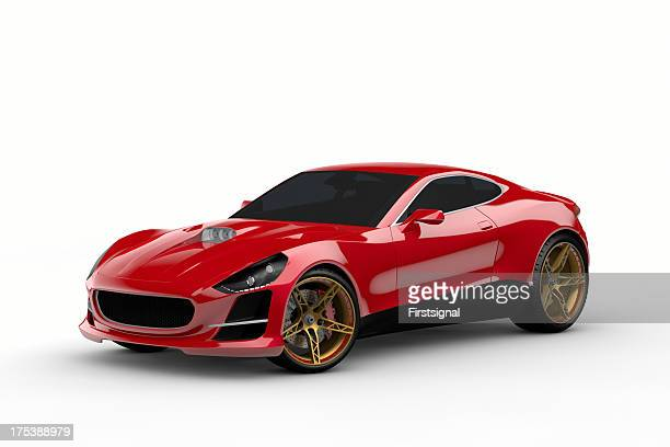 Here is a red sports car with tinted windows