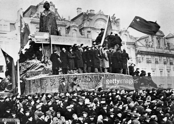 Here is a section of the crowd that gathered to listen to Czech communist Premier Klement Gottwald fire the opening gun of his campaign to lower the...
