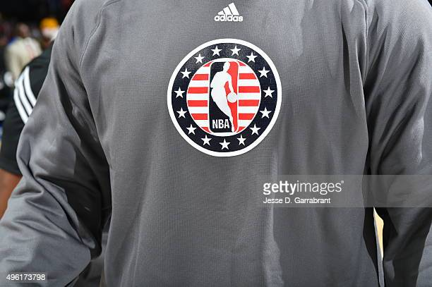 Here is an photograph of the NBA Logo prior to the Philadelphia 76ers against the Orlando Magic at Wells Fargo Center on November 7 2015 in...