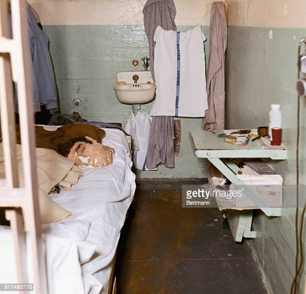 Here is one of the cells in Cell Block B in Alcatraz Prison in San Francisco Bay from which three prisoners escaped 6/12 this photo shows the entire...