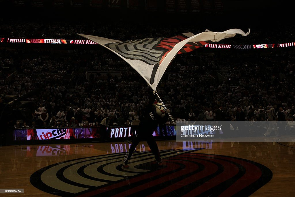 Here is the Mascot 'Blaze' of the Portland Trailblazers gets the crowd pumped up against the San Antonio Spurs on November 2 2013 at the Moda Center...