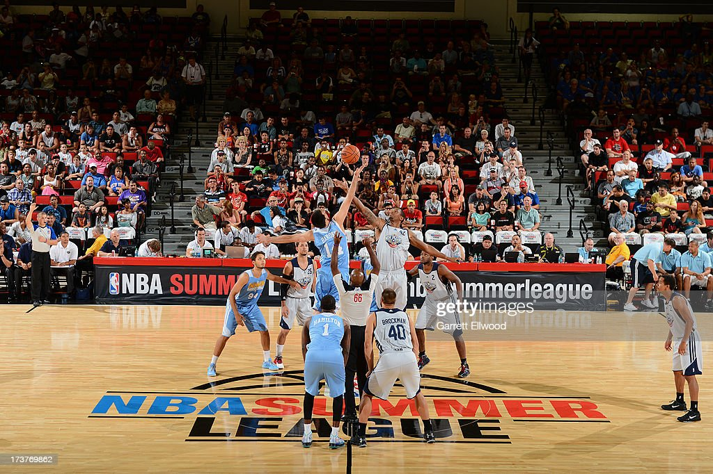 Here is the opening tipoff where The New Orleans Pelicans versus the Denver Nuggets during NBA Summer League on July 17, 2013 at the Cox Pavilion in Las Vegas, Nevada.