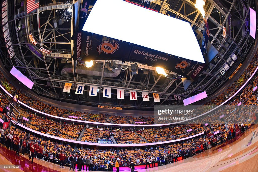 Here is wide-angle shot of the Cleveland Cavaliers against the Atlanta Hawks during the Eastern Conference Semifinals Game One on May 2, 2016 at The Quicken Loans Arena in Cleveland, Ohio.