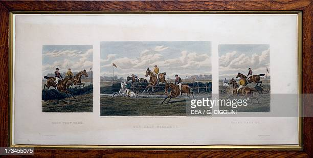 Here they come there they go the half distance February 1881 colour engraving by GR Stock from a drawing by Douglas published by Arthur Ackerman...