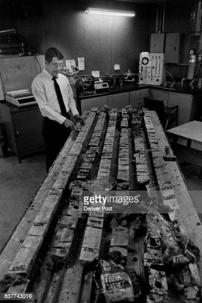 Here We have a shot of Mr Harold W Hunt Mid continent Division Manager With A huge line of core samples cut into pieces Credit Denver Post