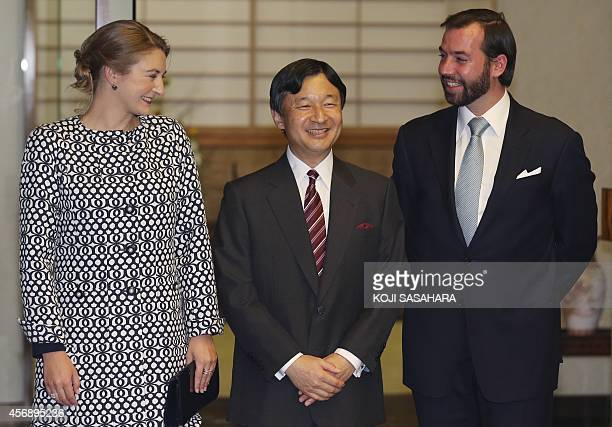 Hereditary Grand Duke Guillaume and Hereditary Grand Duchess Stephanie of Luxembourg are greeted by Crown Prince Naruhito upon their arrival at...