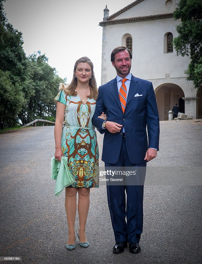 Hereditary Grand Duke Guillaume and Hereditary Grand Duchess Stephanie of Luxembourg pose after the baptism ceremony of Princess Amalia at the Saint Ferreol Chapel in Lorgues on July 12, 2014 in Lorgues, France.