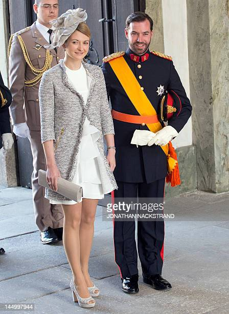 Hereditary Grand Duke of Luxembourg Guillaume and Countess Stephanie de Lannoy arrive on May 22 2012 for the christening of Princess Estelle of...