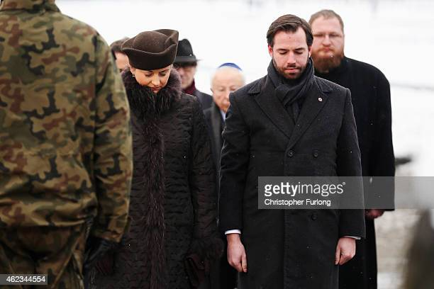 Hereditary GrandDuke Guillaume and Hereditary Grand Duchess Stephanie of Luxembourg lay a wreath during the commemoration of the 70th anniversary of...