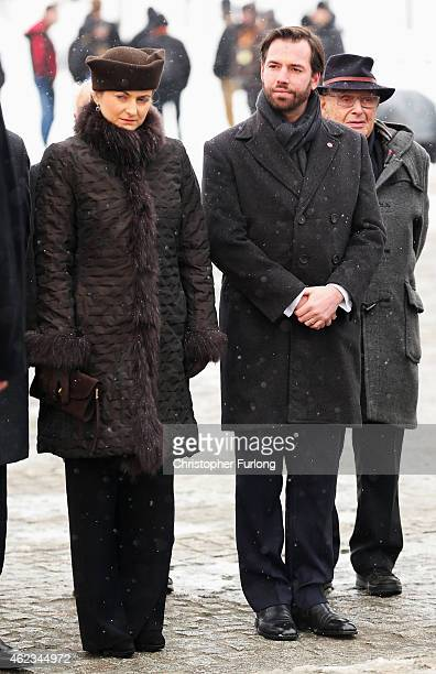 Hereditary GrandDuke Guillaume and Hereditary Grand Duchess Stephanie of Luxembourg prepare to lay a wreath during the commemoration of the 70th...