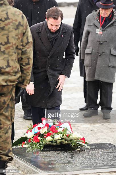 Hereditary GrandDuke Guillaume of Luxembourg lays a wreath during the commemoration of the 70th anniversary of the liberation of Auschwitz...