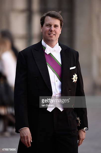 Hereditary Prince Hubertus of SaxeCoburg and Gotha attends the royal wedding of Prince Carl Philip of Sweden and Sofia Hellqvist at The Royal Palace...