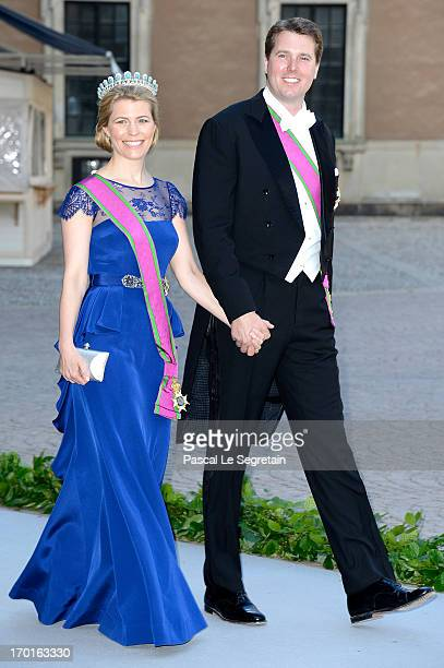 Hereditary Princess Kelly of SaxeCoburg and Gotha and Hereditary Prince Hubertus of SaxeCoburg and Gotha attend the wedding of Princess Madeleine of...