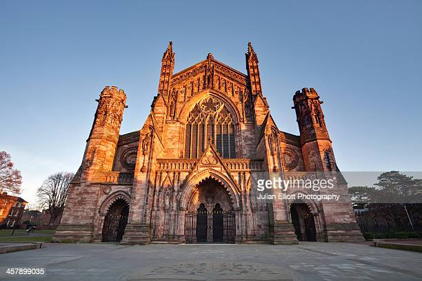 Hereford cathedral lit by the evening sun.