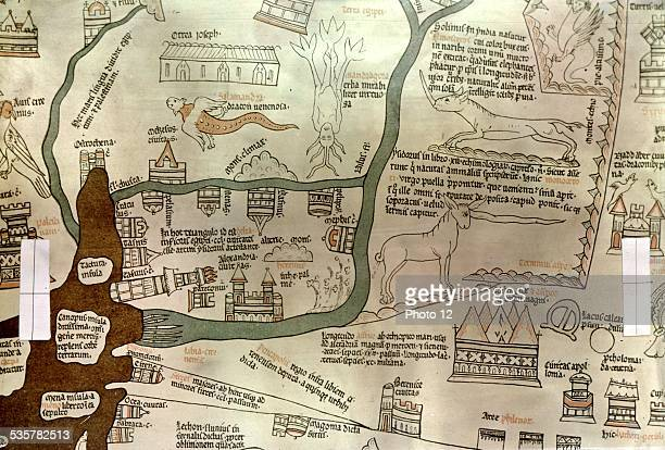 Hereford map Detail of the Nile delta Middle Ages Egypt London British museum