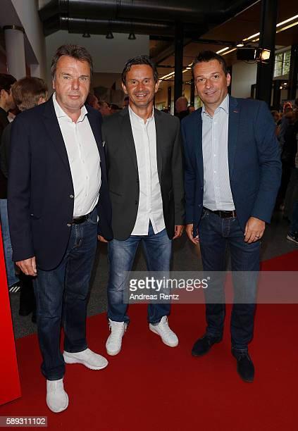 Heribert Bruchhagen Dirk Schuster and Christian Heidel attend the 11FREUNDE Meisterfeier 2016 at Rheinterrassen on August 13 2016 in Duesseldorf...