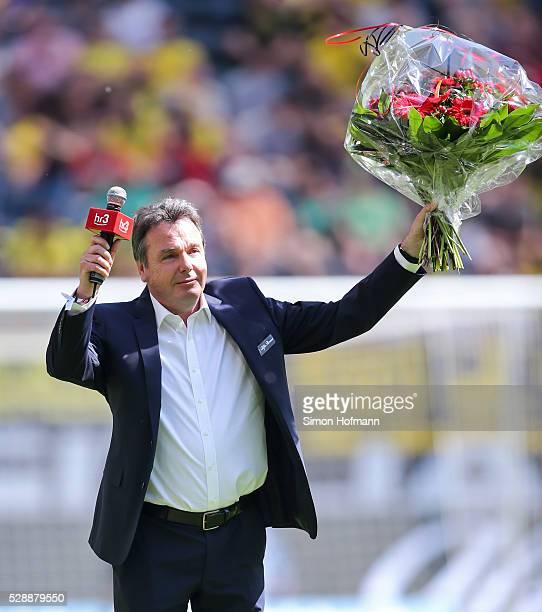 Heribert Bruchhagen reacts prior to the Bundesliga match between Eintracht Frankfurt and Borussia Dortmund at CommerzbankArena on May 07 2016 in...