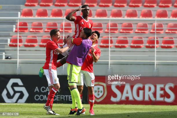 Heriberto Tavares of SL Benfica B celebrates with teammates after scoring a goal during the Segunda Liga match between SL Benfica B and FC Porto B at...