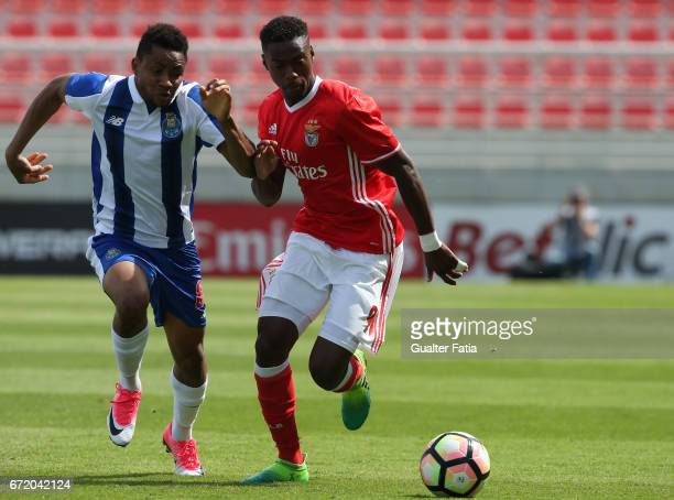Heriberto Tavares of SL Benfica B with Musa Yahaya of FC Porto B in action during the Segunda Liga match between SL Benfica B and FC Porto B at Caixa...