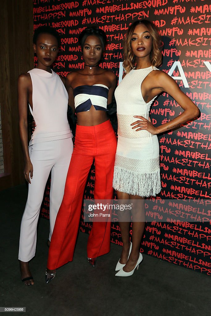 Herieth Paul and Jourdan Dunn attend Maybelline New York celebrates fashion week at Dream Downtown Hotel on February 12 2016 in New York City